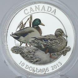 Canada 2013 10 $ Mallard Mates Lifelong, 99,99 % Pièce De Preuve De Couleur D'argent Pur