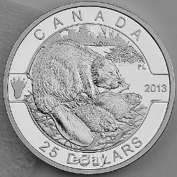 Canada 2013 25 $ Beaver 1 Troy Oz. 99,99% Preuve En Argent Pur, Série O Canada # 1