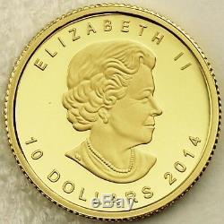Canada 2014 $ 10 Arctic Fox 99,99% Preuve Pure Gold Ongecirculeerd Numismatique Coin