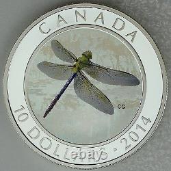Canada 2014 10 $ Darner Vert, Libellules #2, 1/2 Oz Pièce Hologramme En Argent Pur