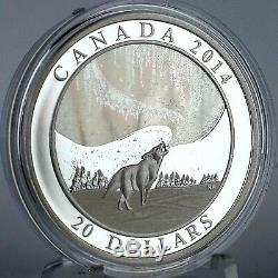 Canada 2014 $ 20 Howling Wolf & Histoire De La Northern Lights Hologram 1 Oz D'argent