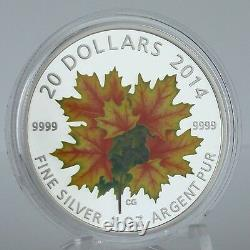 Canada 2014 $20 Maple Leaves Glow-in-the-dark 1 Oz Pure Silver Color Proof Coin