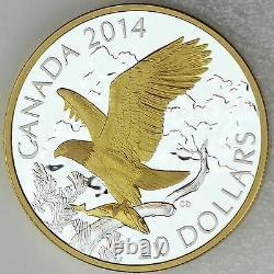 Canada 2014 20 $ Perché Pygargue À Tête Blanche Avec Des Poissons 1 Oz D'argent Pur Preuve Plaquée Or