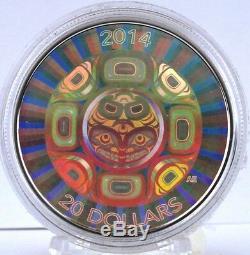 Canada 2014 20 $ Sea Interconnexions Orca 1 Oz Argent Pur Hologram Coin