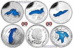 Canada 2014-2015 Grands Lacs Émail 20 $ Argent Pur Coin Ensemble Complet 5 Parfait