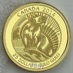 Canada 2014 25 $ Wolverine Untamed Canada # 3 1/4 Onces. 99,99% Preuve Pure Gold