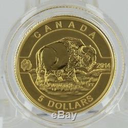 Canada 2014 5 $ Bison O Canada 1/10 Onces. 99,99% Preuve Pure Gold Coin