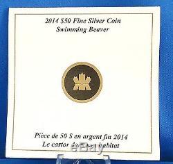 Canada 2014 50 $ Natation Beaver 5 Troy Oz. Argent Pur Ongecirculeerd Proof Coin