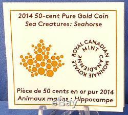 Canada 2014 Créatures De La Mer Seahorse, 1/25 Oz D'or Pur Preuve De 50 Cents, Pièce
