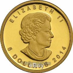 Canada 2014 Mammouth Laineux Préhistorique $ 5 1/10 Oz Pur Preuve D'or Ngc Pf70 Uc Er