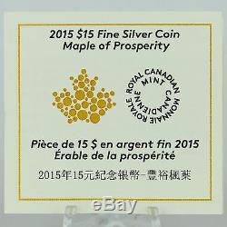 Canada 2015 15 $ Maple De Prospérité 1 Oz 99,99% Argent Pur Hologram Proof Coin
