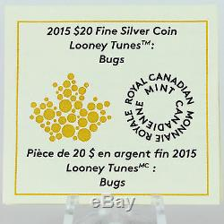 Canada 2015 20 $ Bugs Bunny Looney Tunes 1 Oz 99,99% Pure Couleur Argent Proof