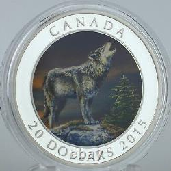Canada 2015 20 $ Le Loup 1 Troy Oz. 99,99 % Pure Silver Uncirculated Color Proof