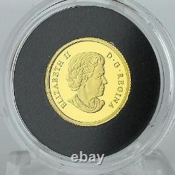 Canada 2015 Feuille D'érable Avec Le Canada Drapeau 1/25 Onces. Preuve De L'or Pur Coin