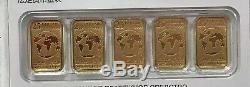 Canada 2016 Legal Tender $ 25 5pc 1/10 Oz Gold Bar Monnaie Royale Canadienne. 9999