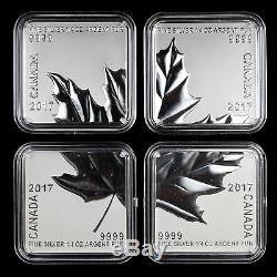 Canada 2017 $ 3 Maple Leaf Quartet 4 Pièces En Argent Pur Carré Coins Mint Erreur
