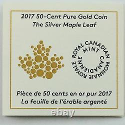 Canada 2017 La Feuille D'érable Argentée 1/25 Oz Or Pur 50 Cents Pièce De Preuve