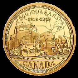 Canada 2019 200 100e Anniversaire De La Pièce D'or Pur Du Cn Monnaie Royale Canadienne