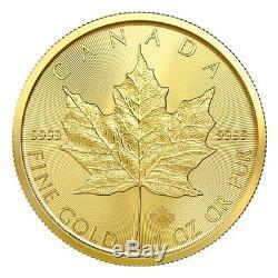 Canada 2020 Mrc 1 Oz Feuille D'érable Canadienne D'or Solide 50 $ Coin Pur À 99,99%