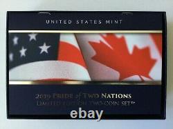 Ensemble W Enhanced Reverse Proof Silver Eagle Maple Leaf Pride Of Two Nations 2019 W Enhanced Reverse Proof Silver Eagle Pride Of Two Nations Set