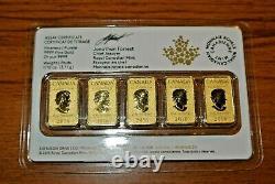 Etanche 2016 1/10 Oz 25 $ Barres D'or, La Monnaie Royale Canadienne, 5 Dans Un Paquet