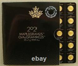 Feuille Complète De (25) Pièces De Feuille D'érable Canada 1 Gram 2021 De Maplegram Sheet