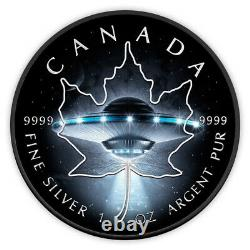 Feuille D'érable Canada 1 Oz Argent 2017 Ufo Glow In The Dark 5$ Silver Coin