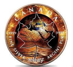 Feuille D'érable Canada 1 Oz Argent 2021 Réchauffement Mondial 5$ Argent Pièce 24k Rose Or