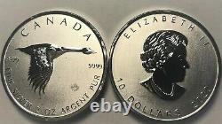 Feuille D'érable D'oie 2020 2 Oz. 9999 Argent 10 $ Monnaie Canada Monnaie Alex Colville