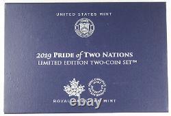 Fierté De Deux Nations 2019 Amélioration De La Preuve Inverse 1 Oz Silver Eagle & Maple