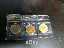 Gold Canadian Maple Leaf. 75 Oz = 3 Pièces @ 1/4 Oz Scellé Rcm 1985, 1549,00 $