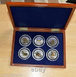 Gold Plated Wildlife Series. 6 Pièces D'argent Dans L'étui Cherrywood