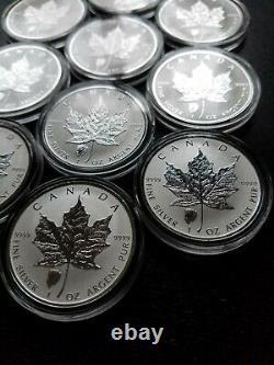 Lot (10) 2018 1oz Canadian Maple Leaf Bison Reverse Privy. 9999 $5 Pièces D'argent
