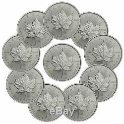 Lot De 10 2020 Canada 1 Oz D'argent Maple Leaf 5 $ Pièces Gem Bu Presale Sku59992
