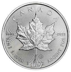 Lot De 10 2021 5 $ Feuille D'érable Canadienne Argentée 1 Oz Brillant Non Circulé