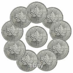 Lot De 10 2021 Canada 1 Oz Feuille D'érable Argentée 5 $ Pièces Gem Bu