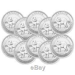 Lot De 10 X 1,5 Oz 2014 Fox Arctique Canadien Pièce D'argent