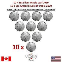 Lot De 10 X 1 Oz 2020 D'érable Du Canada Feuille Pièce D'argent