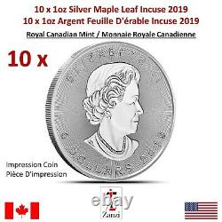 Lot De 10 X 1oz 2019 Canadian Maple Leaf Incuse Silver Coin