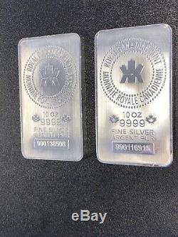 Lot De 2 10 Oz Monnaie Royale Canadienne (mrc). 9999 Fin Silver Bar