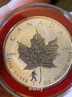 Lot De 2 2016 1 Oz Feuille D'érable Canadienne Inversée Preuve Yin Yang Et Bigfoot Privé