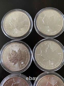 Lot De (20) Pièces Maple Leaf De 1 Oz Dans Capsules 2015 2016 Tube Roll Canada Argent