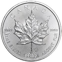 Lot De 25 2019 $ 5 Feuille D'érable Canadienne D'argent 1 Oz Brillant Uncirculated Pleine