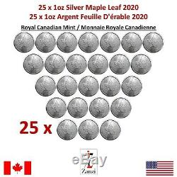 Lot De 25 X 2020 Canadian Maple 1 Oz Silver Leaf Coin