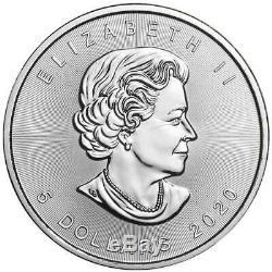 Lot De 3 2020 $ 5 D'argent Feuille D'érable Canadienne 1 Oz Brillant Uncirculated