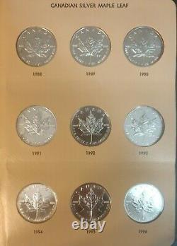 Lot De 31 1988-2020 5 $ 1 Oz Pièces De Feuille D'érable D'argent Canadien Avec Albumdansco