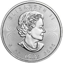 Lot De 5 2020 $ 5 Argent Feuille D'érable Canadienne 1 Oz Brillant Uncirculated