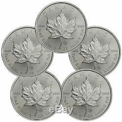 Lot De 5 2020 Canada 1 Oz D'argent Maple Leaf 5 $ Pièces Gem Bu Sku59991