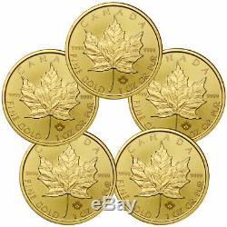 Lot De 5 2020 Canada 1 Oz D'or Maple Leaf 50 $ Pièces Gem Bu