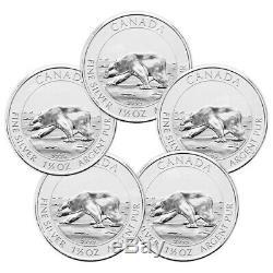 Lot De 5 X 1,5 Oz 2013 Ours Polaire Canadien Pièce D'argent